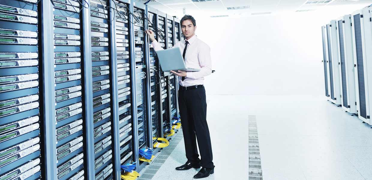 man in server room